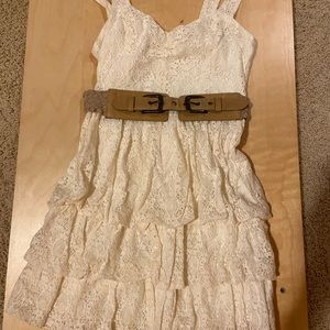 Ruffled Lace Dress With Belt